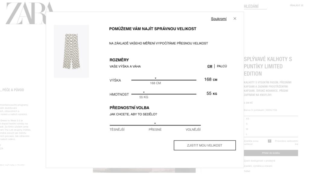 Zara - zadejte své rozměry