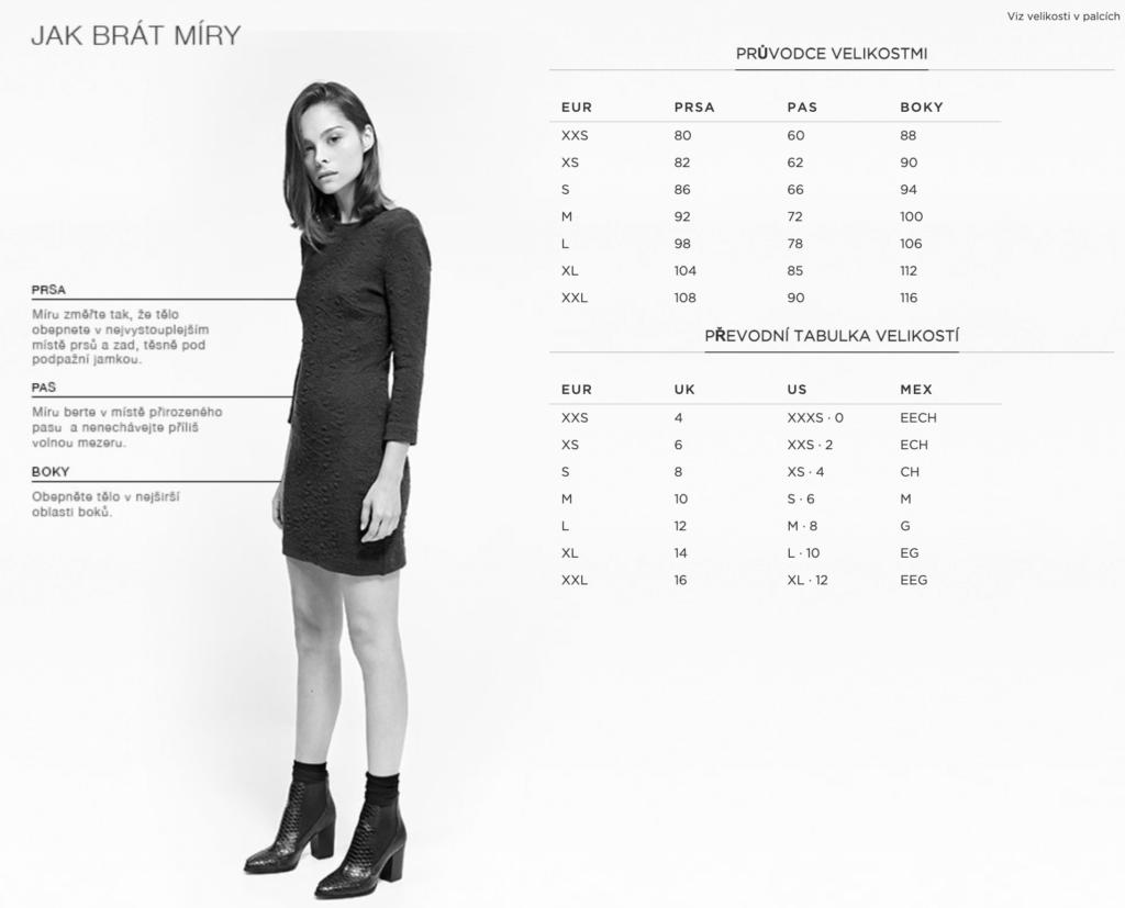 Tabulka velikostí dámských šatů